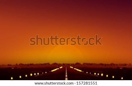 Sunset at Airplane Runway - stock photo