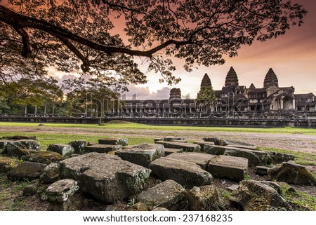 Sunset at Angkor Wat - stock photo