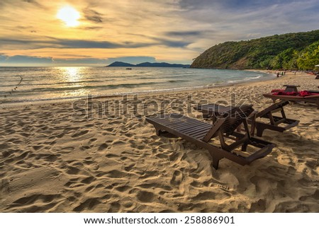 Sunset at Ao Prao beach of Koh Samed Islands in Rayong Thailand - stock photo