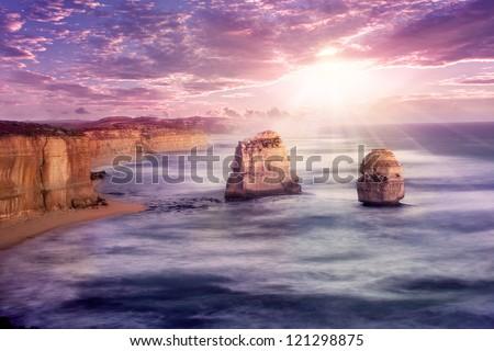 Sunset at 12 apostles at Great Ocean Road, Australia - stock photo