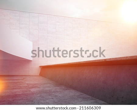 Sunset at Architectural House Roof Top Area. Inspired by Black and White Color - stock photo
