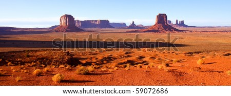 Sunset at Artist Point in Monument Valley Tribal Park, Arizona. - stock photo