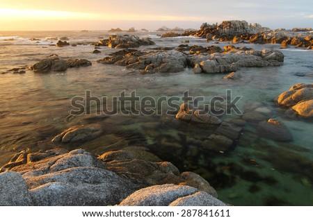 Sunset at Asilomar State Beach, near Monterey, California, United States of America - stock photo
