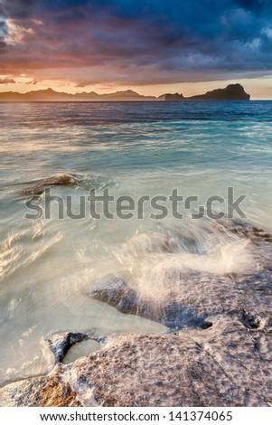 Sunset at bacuit archipelago - stock photo