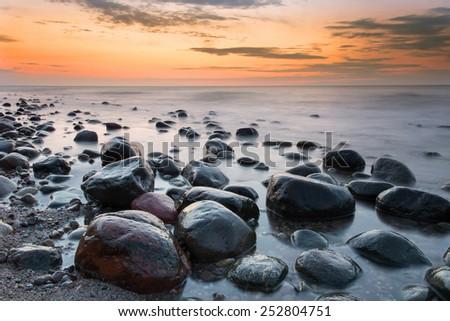 Sunset at Baltic sea - stock photo