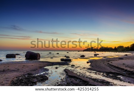Sunset at Baltic sea, in Lahemaa national park in Estonia - stock photo