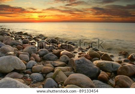 Sunset at Baltic sea. Poland. - stock photo