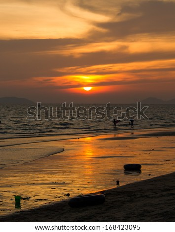 sunset at Ban Phe beach,Rayong Thailand