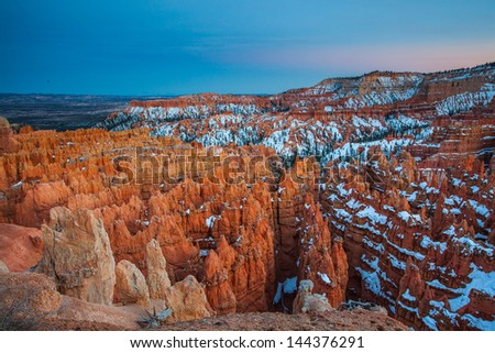 Sunset at Bryce Canyon in Winter, Bryce Canyon National Park, Utah - stock photo
