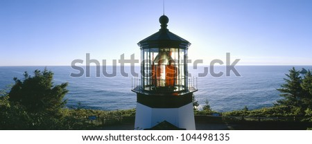 Sunset at Cape Meares Lighthouse from 1890, Oregon - stock photo