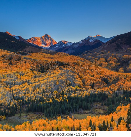 Sunset at Capital Peak with the yellow aspen forest, Aspen, Colorado