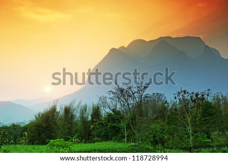 Sunset at Chiangdao Mountain, Chiangmai : Thailand