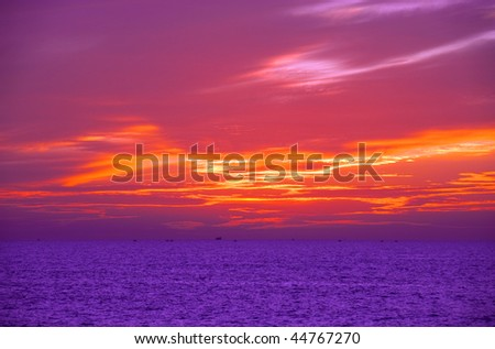 sunset at coast of Mediterranean sea