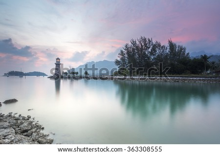 Sunset at coastal beach in Langkawi Island, Kedah, Malaysia. - stock photo