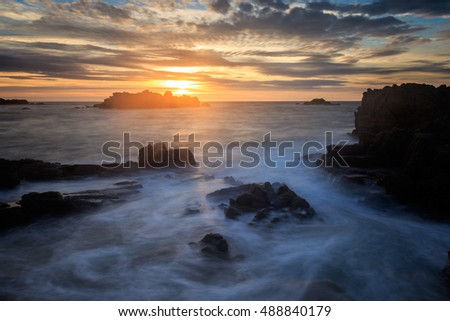 Sunset at Cobo Bay in Guernsey, channel islands.