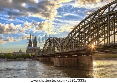 sunset at Cologne city of Germany - stock photo