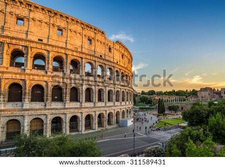 sunset at Colosseum, Rome, Italy