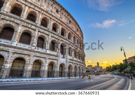 sunset at Colosseum,  Rome, Italy - stock photo