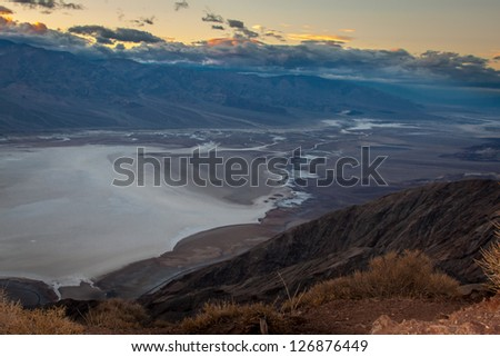 Sunset at Dantes view, Death valley - stock photo