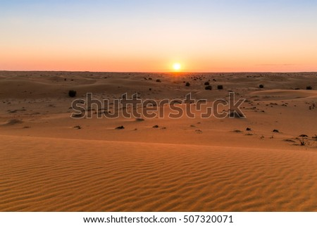 Sunset at Dubai sand desert, UAE