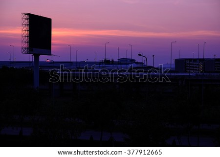 Sunset at entrance way of airport