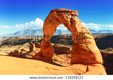 Sunset at famous Delicate Arch, Utah, USA - stock photo
