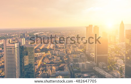 Sunset at Frankfurt am main with financial district skyscrapers