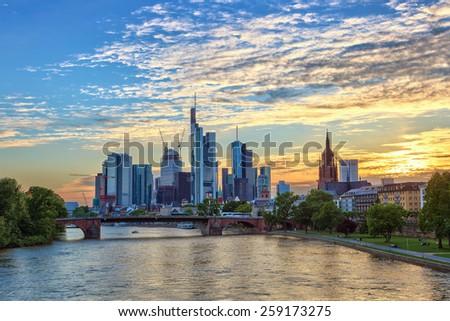 sunset at Frankfurt city and Rhine river, Germany - stock photo