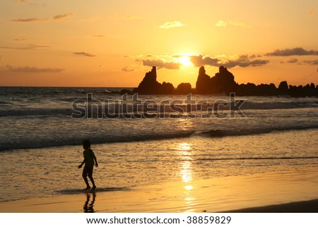 sunset at goa beach, goa state, india - stock photo