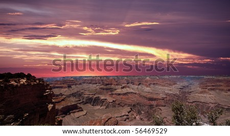 Sunset at Grand Canyon - stock photo