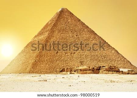 Sunset at Great Pyramid of Giza, Egypt - stock photo