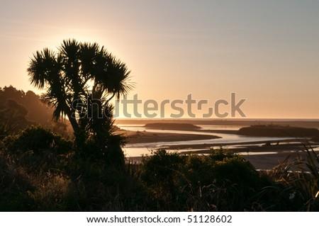 Sunset at Haast, New Zealand - stock photo