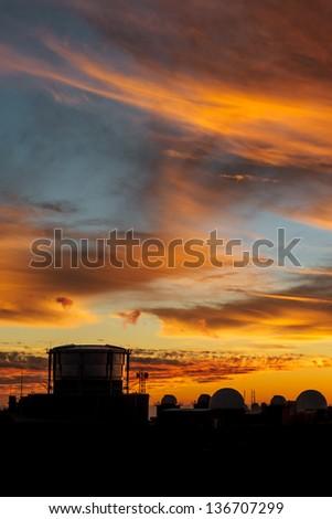 Sunset at Haleakala volcano peak, Maui, Hawaii, USA - stock photo