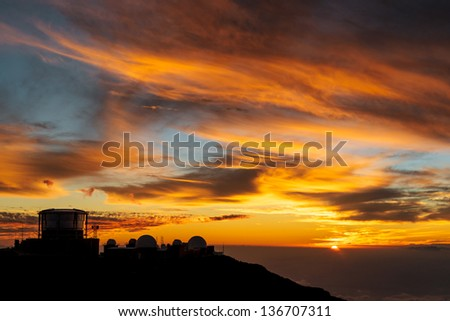 Sunset at Haleakala volcano peak, Maui, Hawaii, USA - stock photo