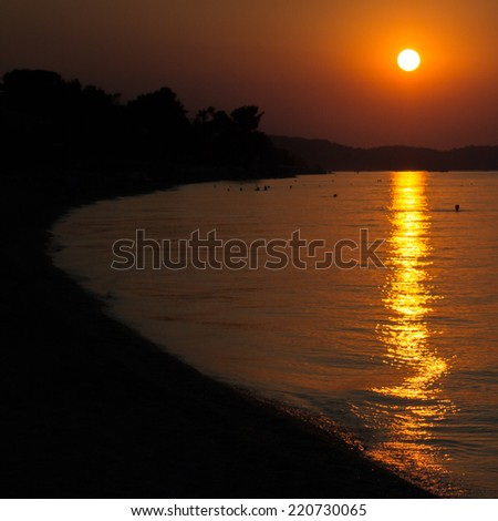 Sunset at Halkidiki,Chaniotis   - stock photo