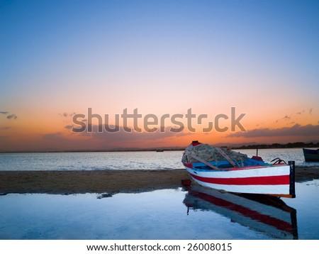 Sunset at Hammamet beach, Tunisia. - stock photo