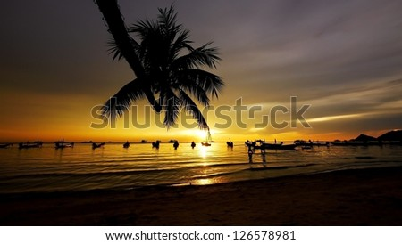 Sunset at Hat Sai ree, Sairee Beach, Koh Tao, Suratthani, Thailand. - stock photo