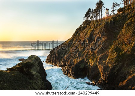 Sunset at Heceta Head st. park located on the central Oregon coast. - stock photo
