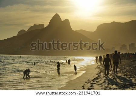 Sunset at Ipanema Beach, the world famous beach, Rio de Janeiro, Brazil