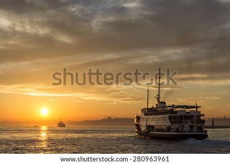 Sunset At Istanbul, Turkey - stock photo