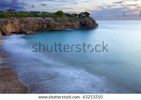 Sunset at Jeremi beach on Curacao, Caribbean - stock photo