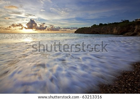 Sunset at Jeremi beach on Curacao, Caribbean