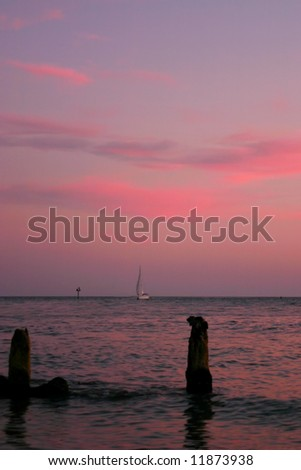 Sunset at Johns Pass on Florida Gulf Coast. Madeira Beach - stock photo