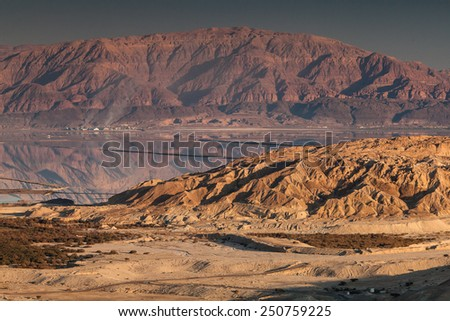 Sunset at Judean desert near the shore of the Dead Sea, Israel - stock photo