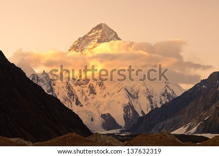 Sunset at K2, the second highest peak in the world, Karakorum Mountains, Pakistan - stock photo