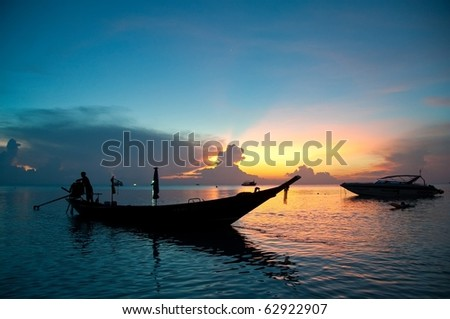 Sunset at Kho Tao, Thailand - stock photo