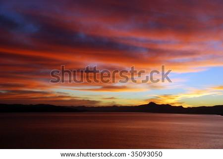 Sunset at Lago Nahuel Huapi - stock photo