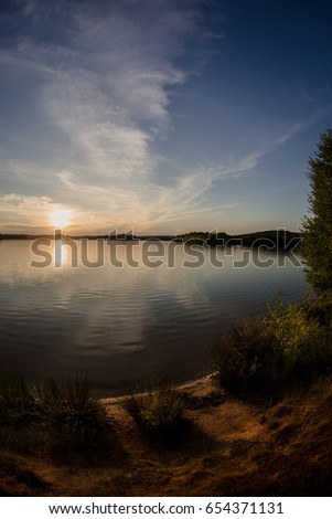 Sunset at lake Murner See in Bavaria