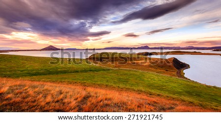 Sunset at Lake Myvatn in Northern Iceland - stock photo