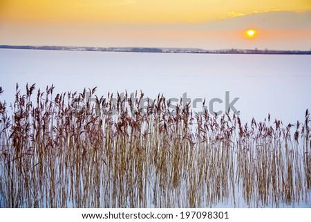 Sunset at lake, Skane, Sweden - stock photo